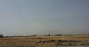 پنهان شدن کوه الوند هنگام انتقال غبار از بخشهای غربی کشور